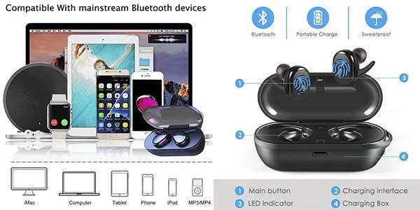 Sonitum Y006 auriculares inalámbricos compatibles smartphone oferta
