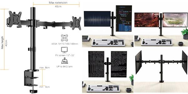 """Brazo soporte dual para 2 monitores de hasta 32"""" ErGear ajustable ±85º, con giro 180º y rotación 360º oferta en Amazon"""