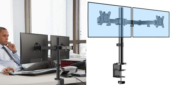 """Brazo soporte dual para 2 monitores de hasta 32"""" ErGear ajustable ±85º, con giro 180º y rotación 360º barato en Amazon"""