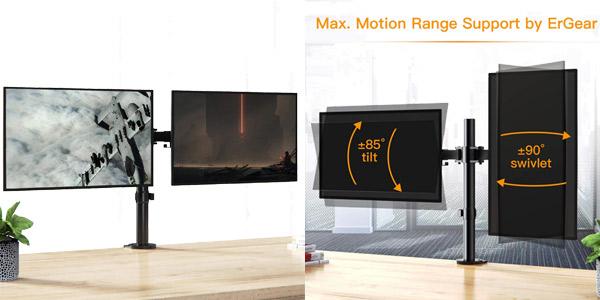 """Brazo soporte dual para 2 monitores de hasta 32"""" ErGear ajustable ±85º, con giro 180º y rotación 360º chollo en Amazon"""