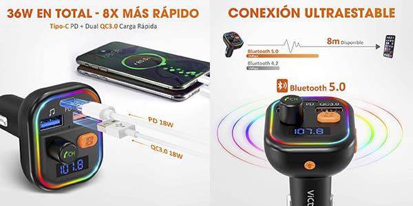 transmisor Bluetooth llamadas musica coche VicTsing chollo