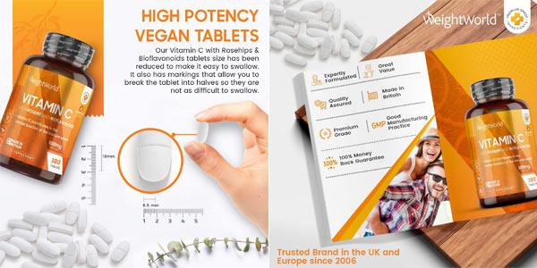 180 Comprimidos veganos Vitamina C WeightWorld de 1000 mg oferta en Amazon