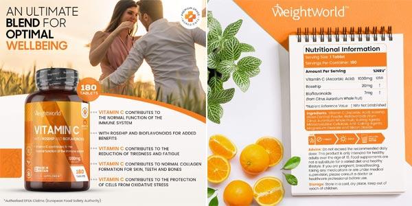 180 Comprimidos veganos Vitamina C WeightWorld de 1000 mg chollo en Amazon