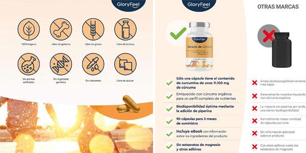 Envase x90 cápsulas Cúrcuma 11.000 mg GloryFeel chollo en Amazon