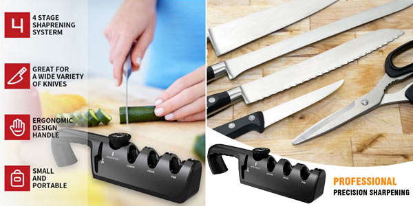 Afilador de cocina ajustable de 4 niveles para cuchillos y tijeras barato en AliExpress