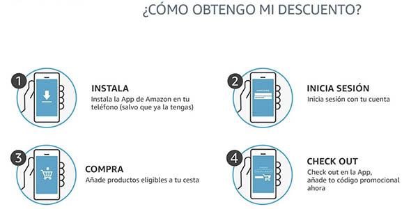 Amazon app código descuento primera compra