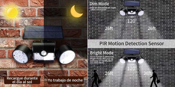 Luz LED Solar Exterior GIANTARM con sensor de movimiento oferta en Amazon