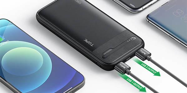 Batería externa TOPK de 10000 mAh y 2 USB en AliExpress