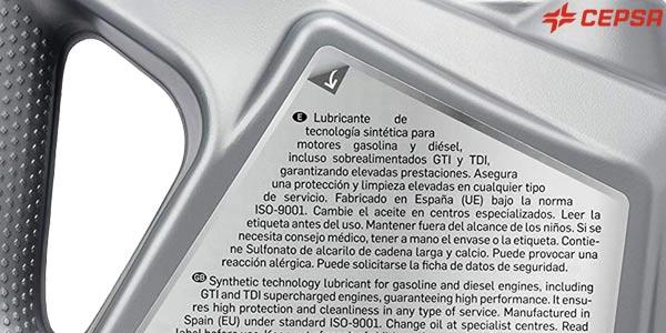 Lubricante semisintético Cepsa Genuine 10W40 MAX de 5L para vehículos de gasolina y diésel chollo en Amazon
