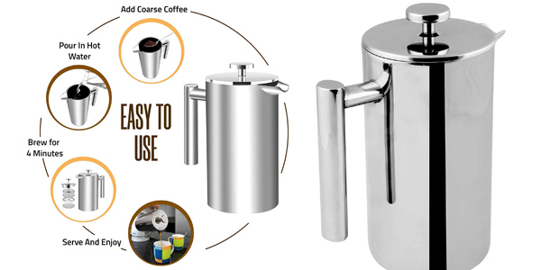 Cafetera francesa KICHLY de 1L de doble pared en acero inoxidable oferta en Amazon