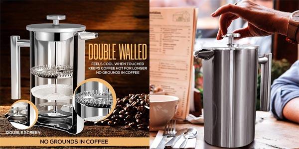 Cafetera francesa KICHLY de 1L de doble pared en acero inoxidable chollo en Amazon