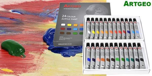 Pack de 24 Colores de Pintura acrílica Artgeo barato en Amazon