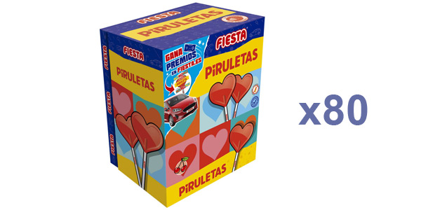 Caja x80 Piruletas de caramelo Fiesta sabor cereza baratas en Amazon