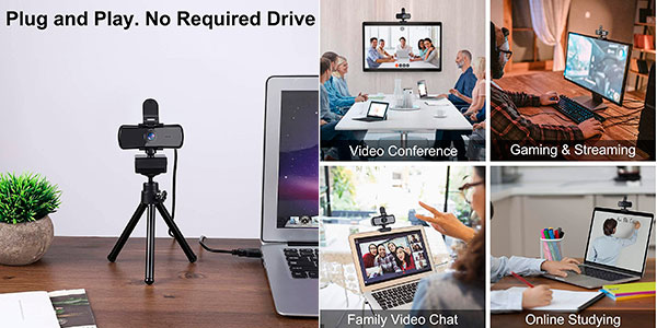 Cámara web USB Feimuosi Full HD con micro y trípode barata