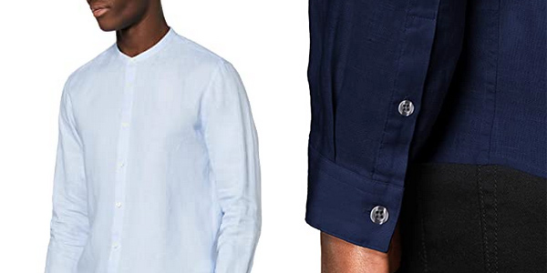Camisa de lino Amazon find de manga larga para hombre chollo en Amazon