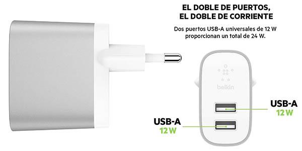 cargador pared doble USB 24W Belkin Boost charge oferta