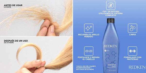 Champú Fortificante y reparador Redken Extreme para cabellos estresados y dañados de 300 ml chollo en Amazon