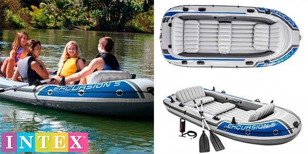 Chollo Barca hinchable Intex Excursion 5 para 5 personas con 2 remos