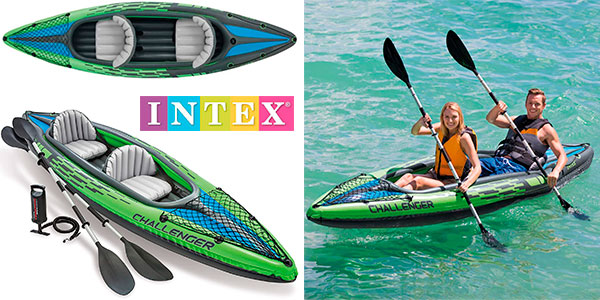Chollo Kayak hinchable Intex Challenger K2 con 2 remos