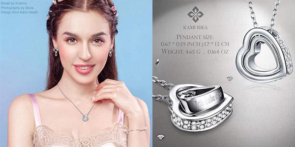 Collar Kami Idea para Ella en plata de ley 925 + cristales Swarovski chollo en Amazon