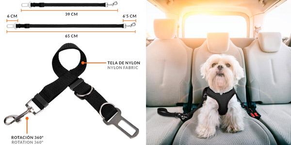 Correa para perros extensible + cinturón coche + dispensador bolsas chollo en Amazon