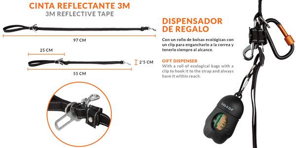 Correa para perros extensible + cinturón coche + dispensador bolsas oferta en Amazon
