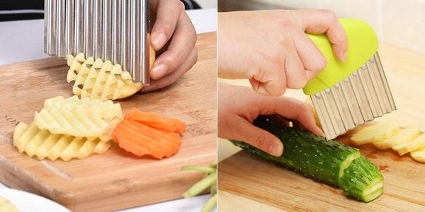 Cortador ondulado de patatas fritas de acero inoxidable chollo en AliExpress