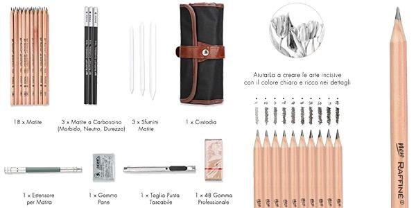 Juego de 28 piezas de dibujo Yosoo con lápices, accesorios y estuche oferta en Amazon