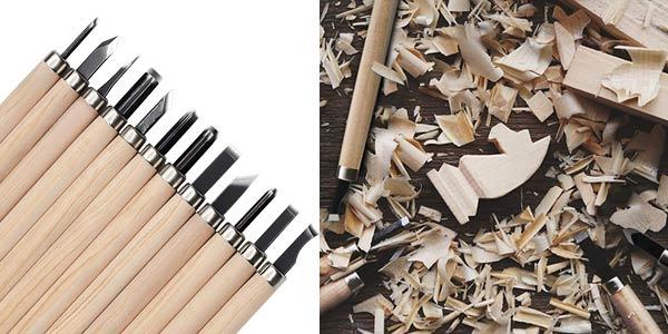 Pack x12 Herramientas de tallado en madera baratas en Amazon