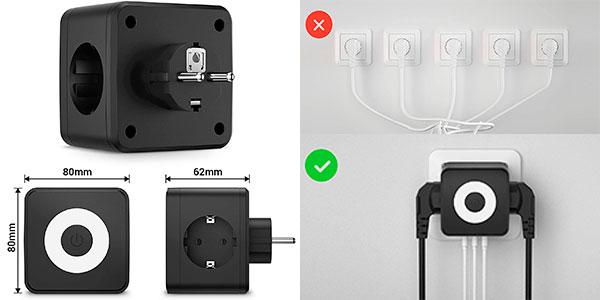 Enchufe de pared Kinglink 4 en 1 con USB, 2 tomas de tierra y luz nocturna barato