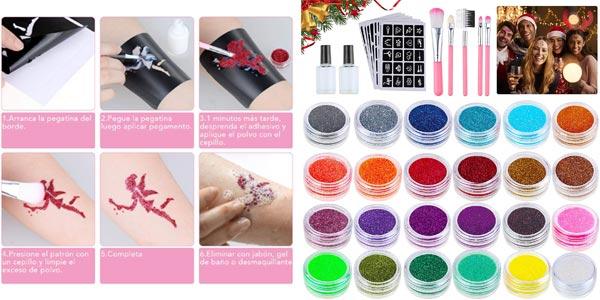 Kit de tatuajes temporales Lictin Glitter oferta en Amazon