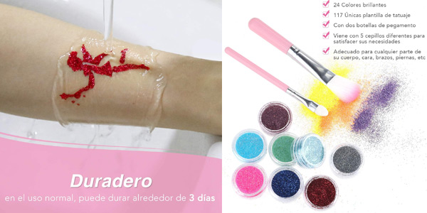 Kit de tatuajes temporales Lictin Glitter chollo en Amazon