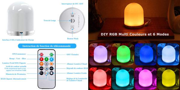 Luz nocturna infantil RGB Aulek con carga USB chollo en Amazon