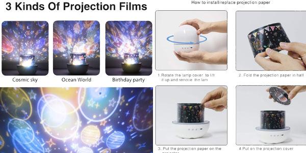 Lámpara-proyector 360º de estrellas infantil Hepside chollo en Amazon