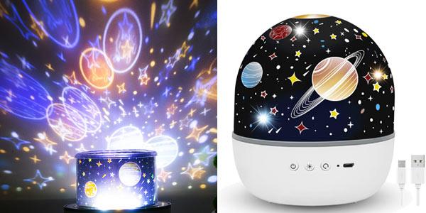Lámpara-proyector 360º de estrellas infantil Hepside barata en Amazon