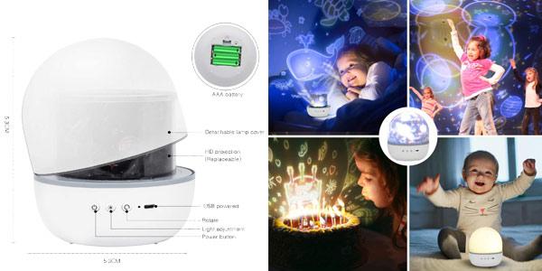 Lámpara-proyector 360º de estrellas infantil Hepside oferta en Amazon