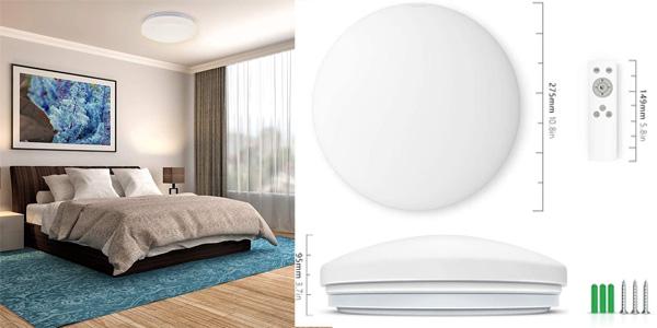 Plafón de techo LED Anten con brillo y color regulable y control remoto chollo en Amazon