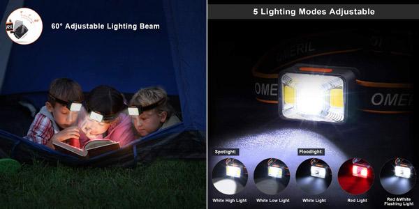 Linterna frontal LED recargable por USB Omeril con 5 modos de luz e IPX5 oferta en Amazon