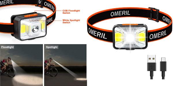 Linterna frontal LED recargable por USB Omeril con 5 modos de luz e IPX5 barata en Amazon