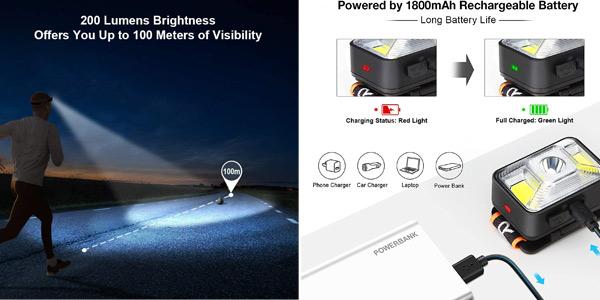 Linterna frontal LED recargable por USB Omeril con 5 modos de luz e IPX5 chollo en Amazon
