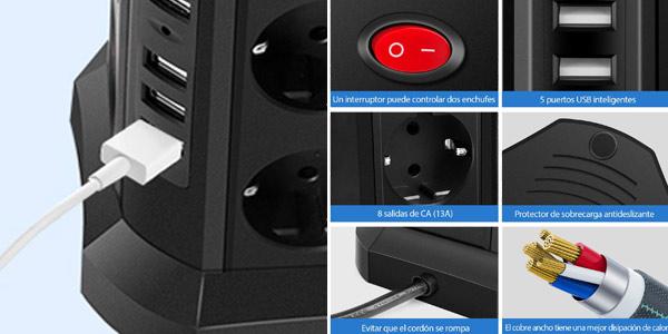 Enchufe vertical Taococo con 8 enchufes y 5 entradas USB oferta en Amazon