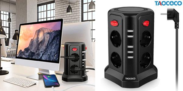 Enchufe vertical Taococo con 8 enchufes y 5 entradas USB barato en Amazon