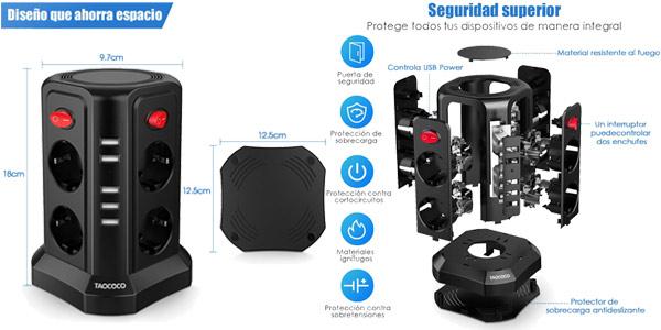 Enchufe vertical Taococo con 8 enchufes y 5 entradas USB chollo en Amazon