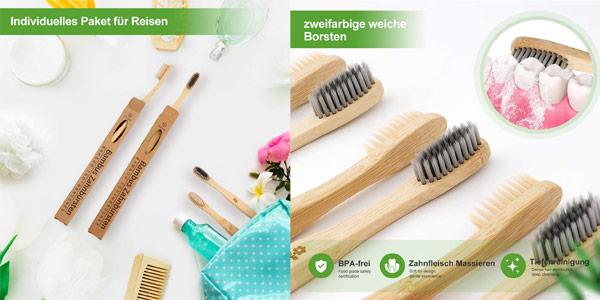 Pack x10 Cepillos de dientes de bambú oferta en Amazon