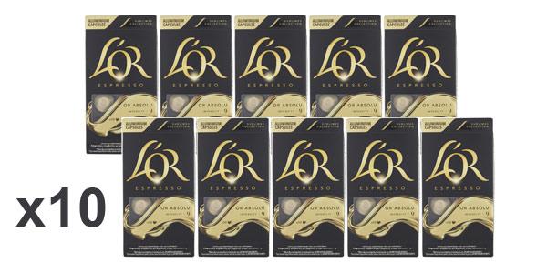 Pack x100 Cápsulas de café L'Or Espresso Or Absolu Intensidad 9 chollo en Amazon