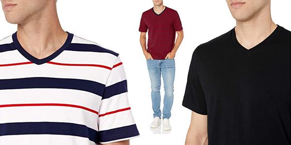 Pack x2 Camisetas de manga corta Amazon Essentials V-Neck para hombre chollo en Amazon