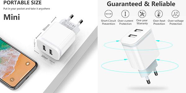 Pack de 2 cargadores de pared Niluoya con 2 USB en oferta