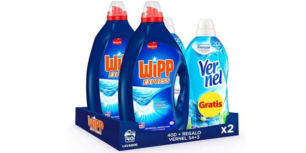 Pack x2 Wipp Express Detergente Líquido Azul para lavadora de 40 Lavados + x2 Vernel Suavizante Azul 57 Lavados gratis barato en Amazon
