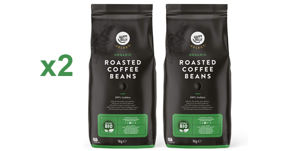 Pack x2 Happy Belly Select Café de tueste natural ecológico 100% Arabica de 1 kg/ud barato en Amazon