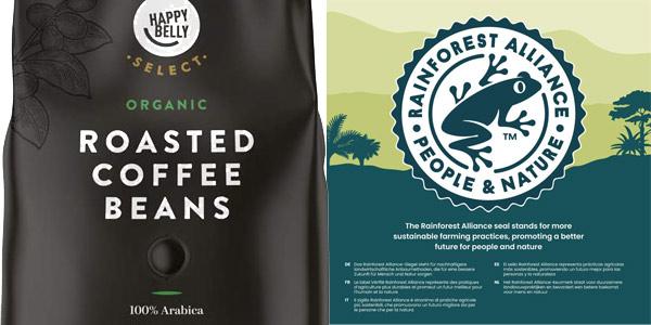 Pack x2 Happy Belly Select Café de tueste natural ecológico 100% Arabica de 1 kg/ud chollo en Amazon